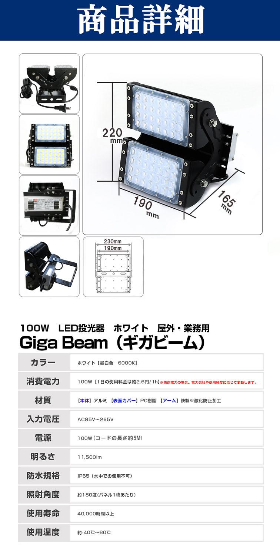 60022 100W 昼白色 GigaBeam投光器 商品詳細