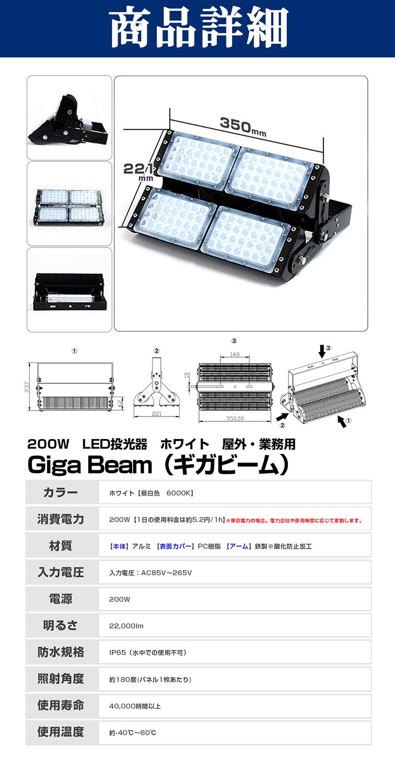 60024 200W 昼白色 GigaBeam投光器 商品詳細